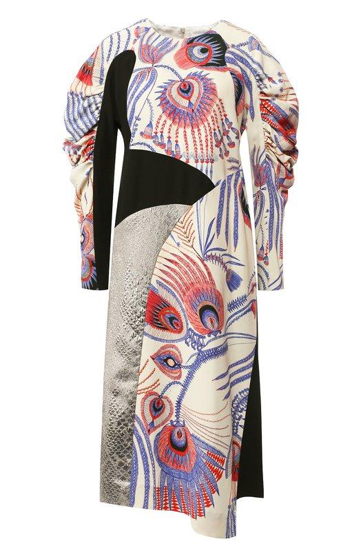 Купить Платье-миди с круглым вырезом и принтом Dries Van Noten, 182-11095-6087, Польша, Синий, Вискоза: 100%;