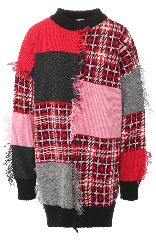 Шерстяной пуловер с круглым вырезом и бахромой MSGM