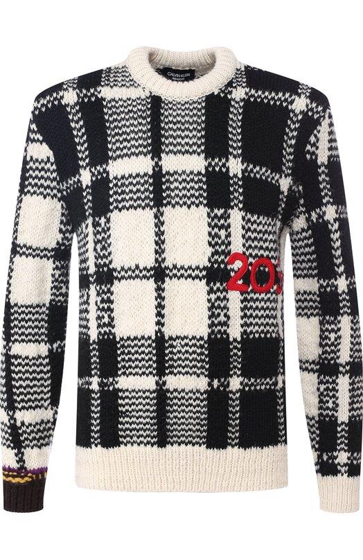 Шерстяной свитер в клетку CALVIN KLEIN 205W39NYC