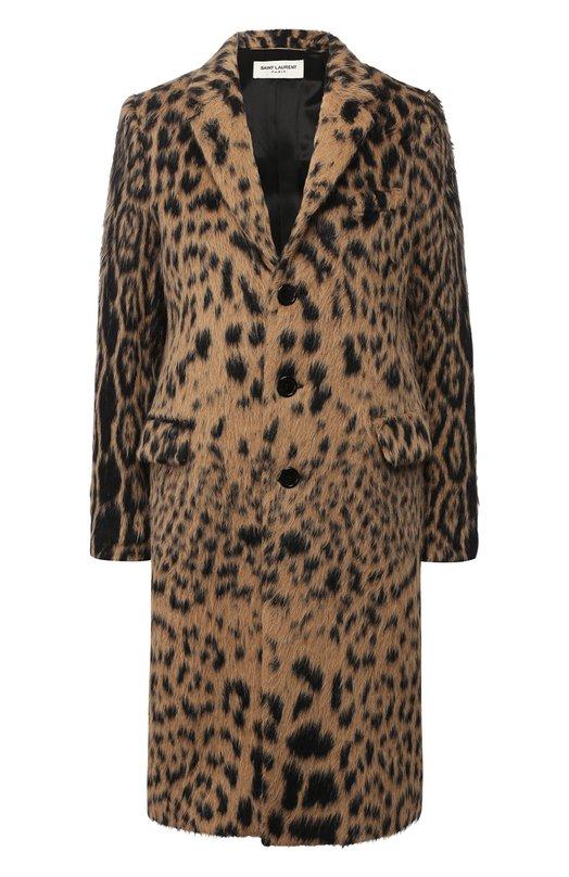 Купить Шерстяное пальто с принтом Saint Laurent, 517798/Y272T, Италия, Бежевый, Подкладка-вискоза: 60%; Шерсть ламы: 52%; Полиамид: 5%; Шерсть: 43%; Подкладка-хлопок: 40%;