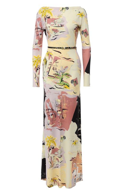 Купить Платье-макси с поясом и принтом Emilio Pucci, 8UJI30/8U724, Италия, Разноцветный, Вискоза: 83%; Кожа: 51%; Шелк: 17%;