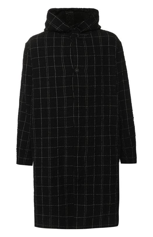 Однобортное пальто из смеси шерсти и хлопка с капюшоном Transit