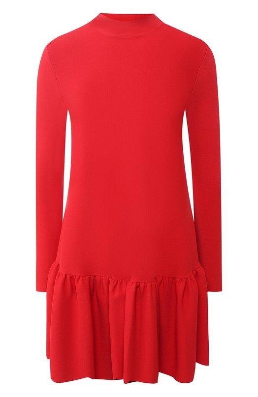 Купить Однотонное мини-платье с оборкой и воротником-стойкой Valentino, QB0KD0824C9, Италия, Красный, Вискоза: 83%; Полиэстер: 17%;