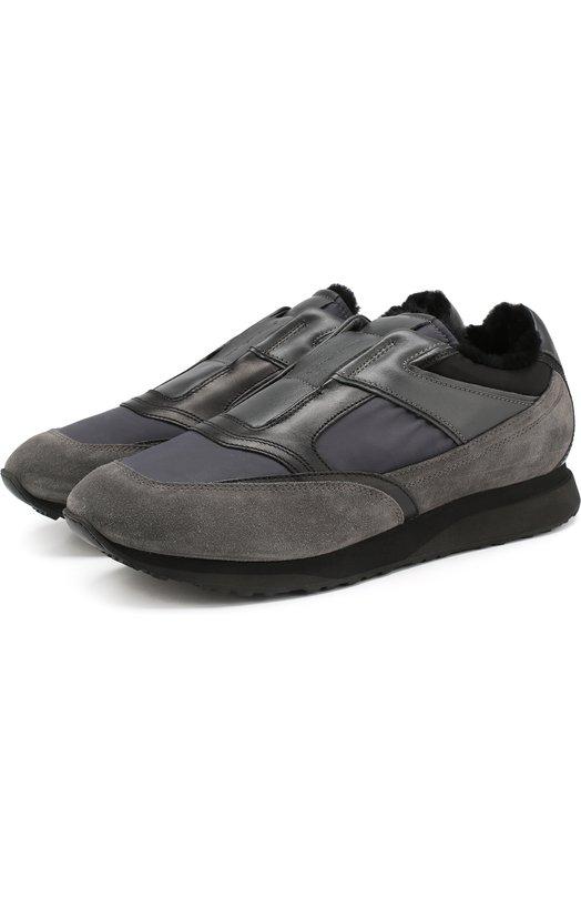 Купить Комбинированные кроссовки без шнуровки с внутренней меховой отделкой Santoni, MBFL20971NGNHSDDG60, Италия, Темно-серый, Кожа: 59%; Текстиль: 41%; Подкладка-Мех/овчина/: 100%; Низ-Мех/овчина/: 100%; Подошва-Резина: 100%;
