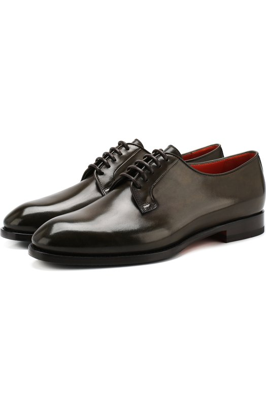 Купить Кожаные дерби на шнуровке Santoni, WURV55894BJ4RLVVV27, Италия, Хаки, Подошва-кожа: 51%; Подошва-резина: 49%; Подкладка-кожа: 100%; Кожа: 100%;