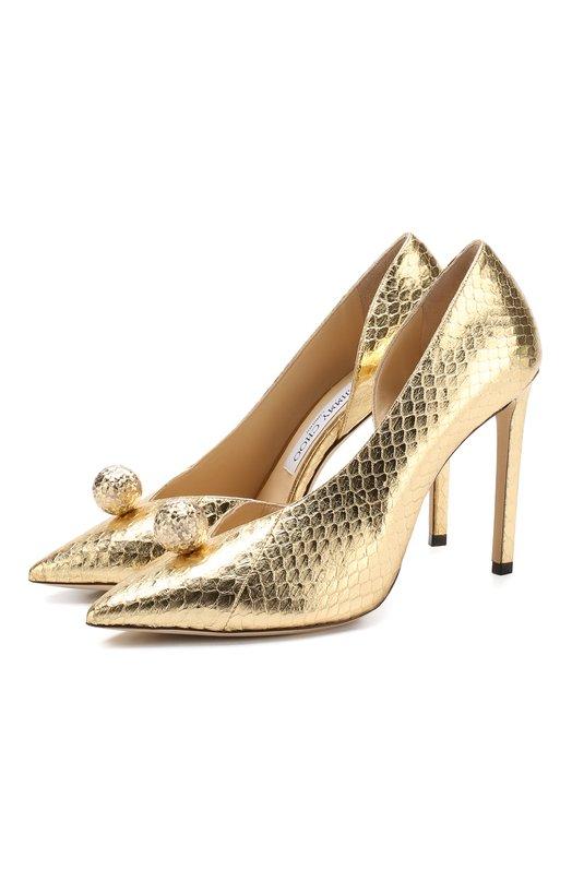 Купить Туфли Sadira 100 из металлизированной кожи на шпильке Jimmy Choo, SADIRA 100/CDW, Италия, Золотой, Подошва-кожа: 100%; Подкладка-кожа: 100%; Кожа: 100%;