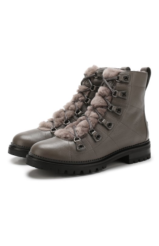 Купить Кожаные ботинки Hillary с внутренней отделкой из овчины Jimmy Choo, HILLARY FLAT/RLH, Италия, Темно-серый, Подошва-резина: 100%; Отделка мех./овчина/: 100%; Подкладка-мех/овчина/: 100%; Кожа: 100%;