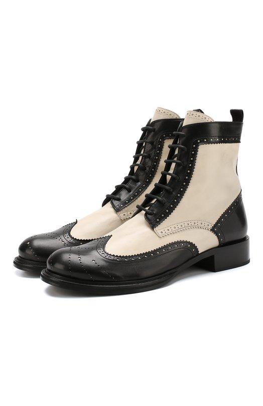 Купить Кожаные ботинки с брогированием Ann Demeulemeester, 1802-4210-375-002, Италия, Черно-белый, Подошва-Кожа: 100%; Подкладка-Кожа: 100%; Кожа: 100%;