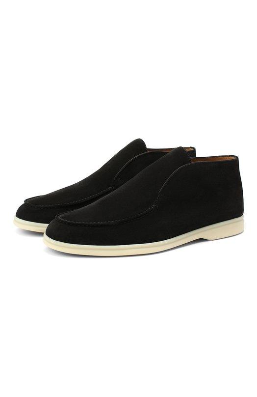Купить Замшевые ботинки Open Walk без шнуровки Loro Piana, FAB4368, Италия, Черный, Стелька-Кожа: 100%; Подошва-Резина: 100%; Замша натуральная: 100%; Подкладка-Кожа: 100%; Кожа: 100%; Низ-Кожа: 100%;