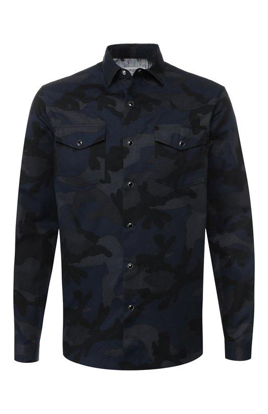 Купить Хлопковая рубашка с принтом Valentino, QV0ABA65KUG, Италия, Темно-синий, Хлопок: 100%;