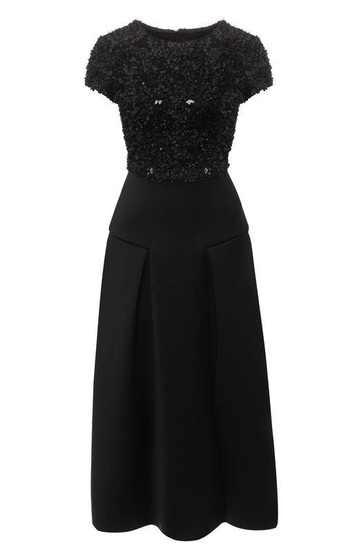 Купить Приталенное платье-миди с декоративной отделкой Emporio Armani, 6Z2A6X/2JA9Z, Китай, Черный, Полиэстер: 96%; Эластан: 4%;