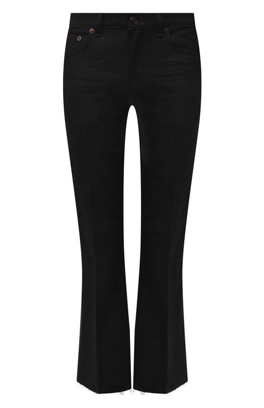 Купить Укороченные расклешенные джинсы Saint Laurent, 543074/YF869, Италия, Черный, Хлопок: 98%; Эластан: 2%;