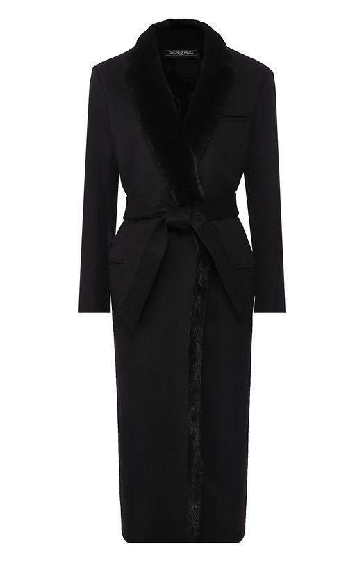 Купить Шерстяное пальто с меховой отделкой Simonetta Ravizza, CLELIA3/N01Y, Италия, Черный, Шерсть: 70%; Отделка мех./норка/: 30%;