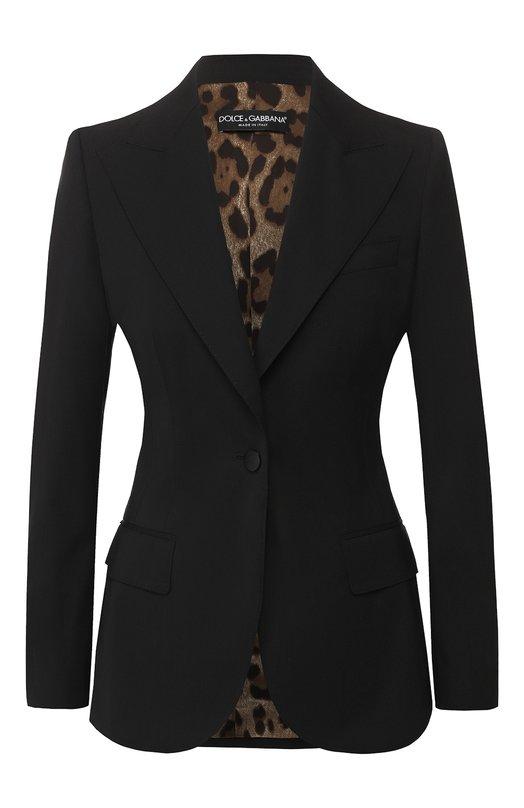 Купить Приталенный шерстяной жакет Dolce & Gabbana, F2900T/FUBBG, Италия, Черный, Шерсть: 98%; Эластан: 2%;