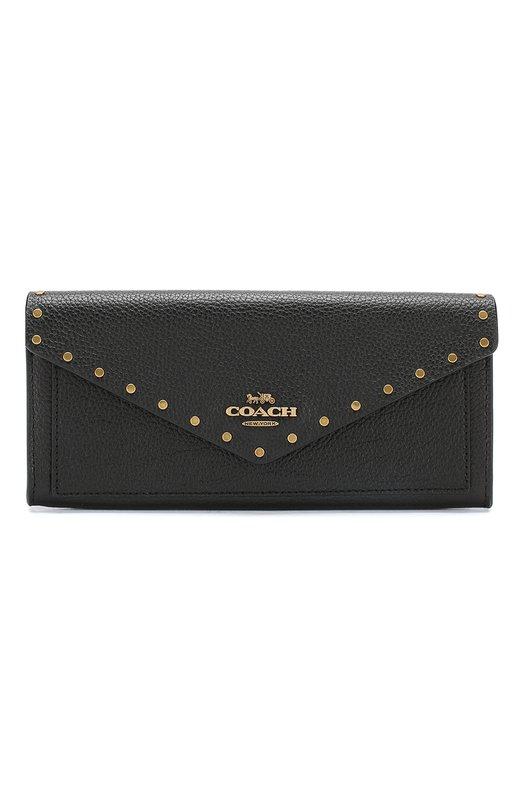 Купить Кожаный кошелек с клапаном Coach, 31426, Таиланд, Черный, Кожа натуральная: 100%;