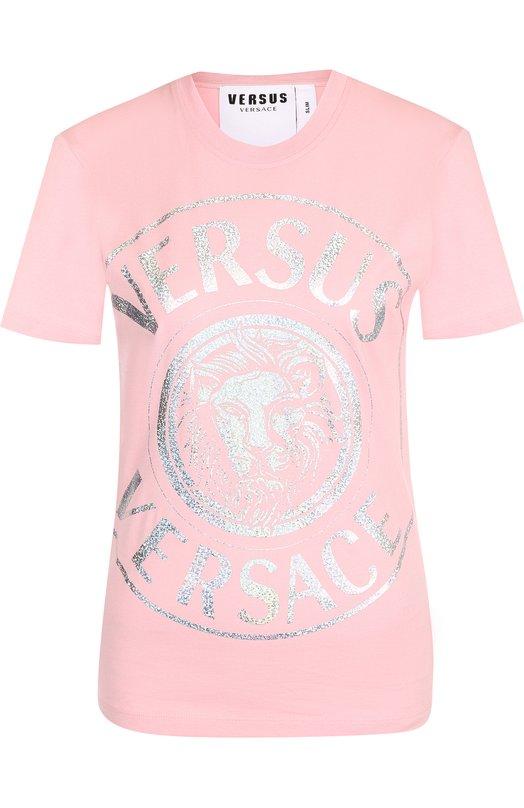 Купить Хлопковая футболка с круглым вырезом и логотипом бренда Versus Versace, BD90656/BJ10388, Португалия, Розовый, Хлопок: 100%;