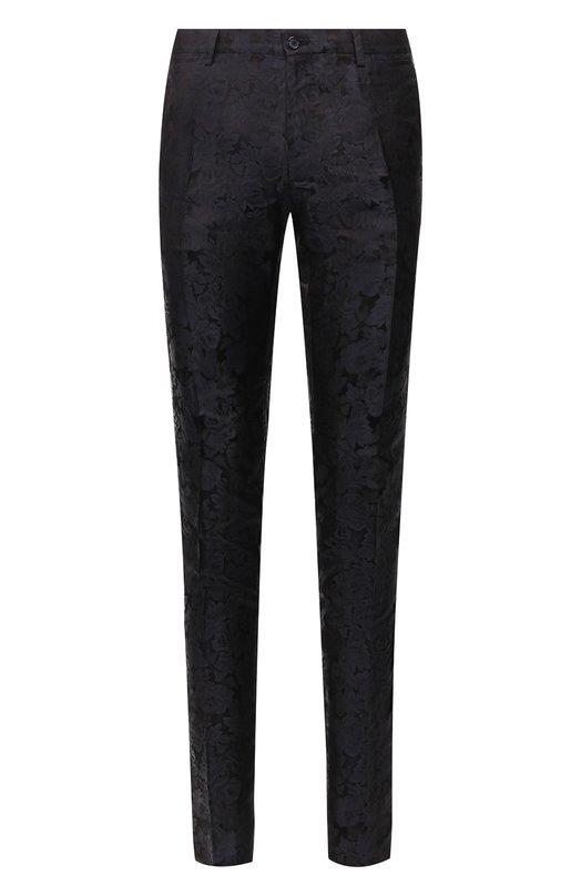 Купить Шелковые брюки прямого кроя Dolce & Gabbana, GY5WMT/FJ1EZ, Италия, Синий, Шелк: 100%;