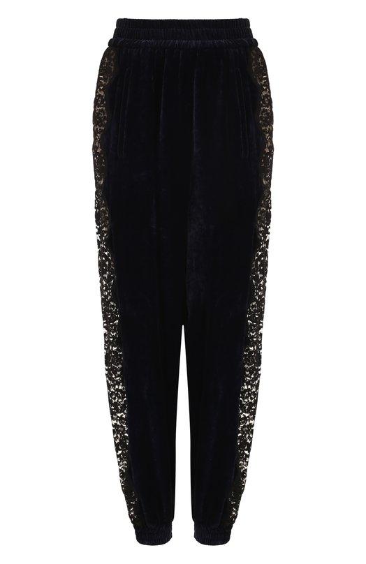 Купить Бархатные брюки с кружевной вставкой Stella McCartney, 522271/SJB87, Венгрия, Темно-синий, Вискоза: 82%; Шелк: 18%;