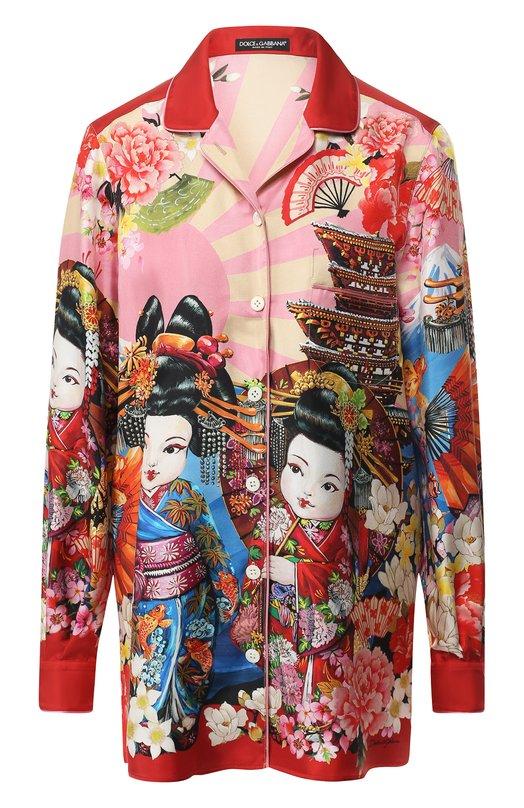 Купить Шелковая блуза с принтом Dolce & Gabbana, F5G56T/GDJ93, Италия, Розовый, Шелк: 100%;