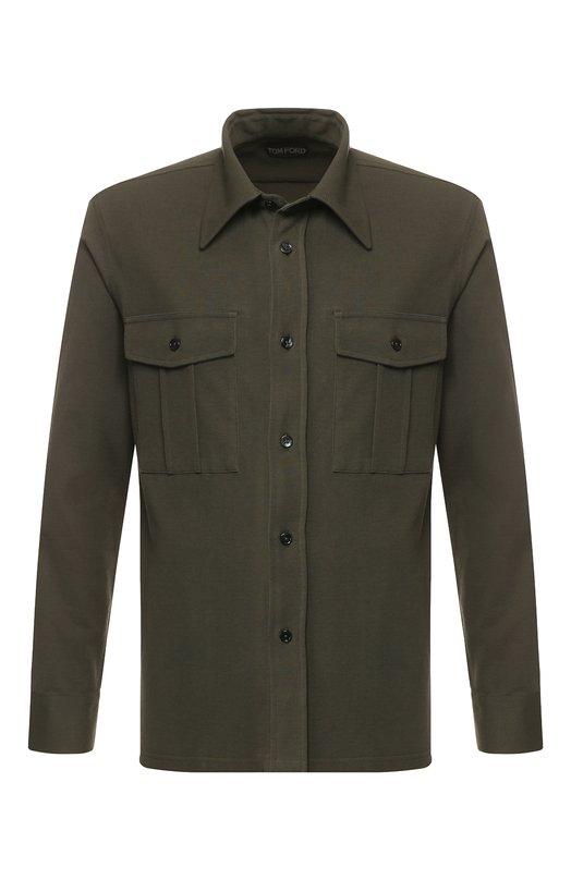 Купить Хлопковая рубашка с накладными карманами Tom Ford, BR232/TFJ919, Италия, Хаки, Хлопок: 100%;