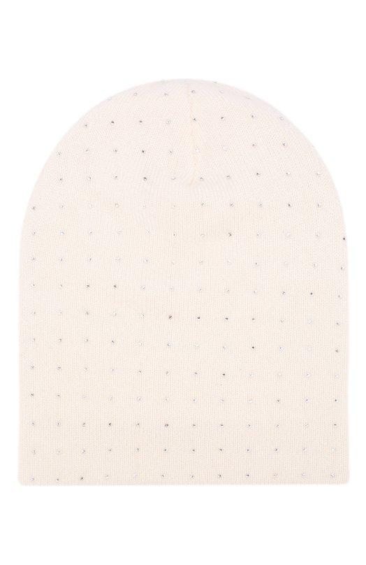 Купить Кашемировая шапка бини с отделкой стразами William Sharp, HT 19-43, Китай, Белый, Кашемир: 100%; Отделка-стекло: 100%;