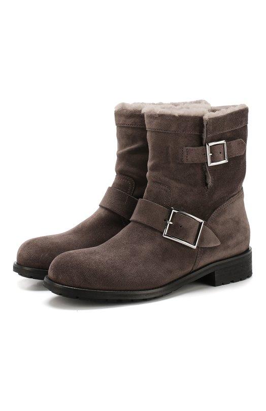 Купить Замшевые ботинки Youth с внутренней отделкой из овчины Jimmy Choo, Y0UTH/VSG, Италия, Темно-серый, Подошва-резина: 100%; Подкладка-мех/овчина/: 100%; Кожа: 100%;