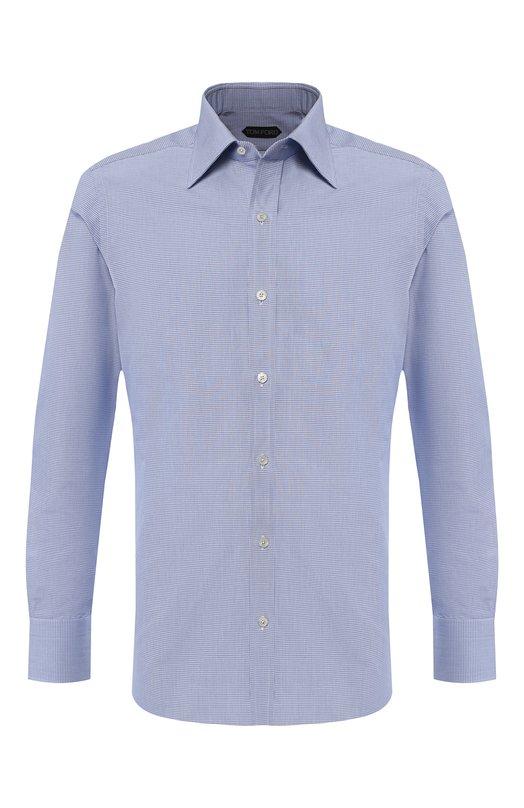 Купить Хлопковая сорочка с воротником кент Tom Ford, 4FT603/94S1JE, Швейцария, Голубой, Хлопок: 100%;