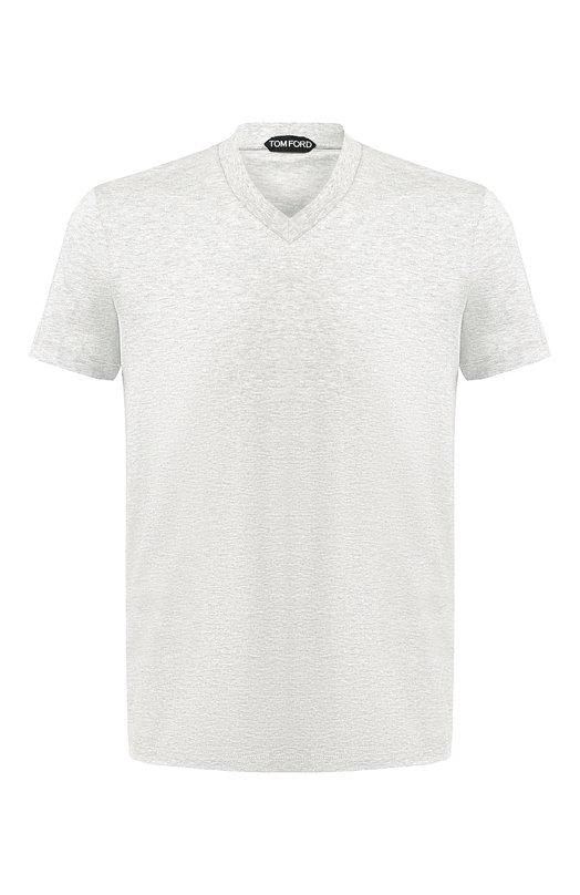 Купить Хлопковая футболка с V-образным вырезом Tom Ford, BR238/TFJ927, Италия, Серый, Хлопок: 100%;