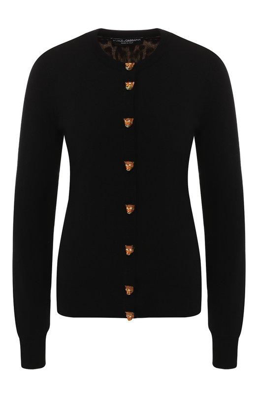 Купить Кашемировый кардиган с декоративными пуговицами Dolce & Gabbana, FX180T/JAMJY, Италия, Черный, Кашемир: 100%;