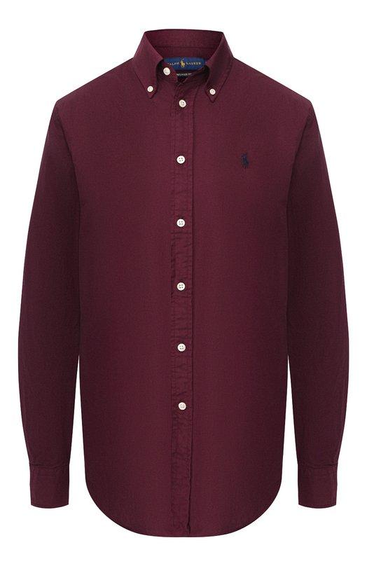 Купить Однотонная хлопковая блуза прямого кроя Polo Ralph Lauren, 211684063, Филиппины, Бордовый, Хлопок: 100%;