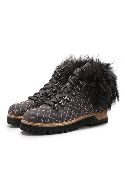 Купить Замшевые ботинки с отделкой из меха кролика Le Silla, 7542M040M1LLP0W, Италия, Темно-серый, Подошва-резина: 100%; Отделка мех./кролик/: 100%; Подкладка-мех/кролик/: 100%; Кожа: 100%;