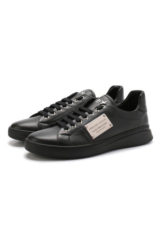 Купить Кожаные кеды Original на шнуровке Philipp Plein, A18S MSC 1697 PLE006N, Италия, Черный, Подошва-Резина: 100%; Подкладка-Кожа: 100%; Кожа: 100%;