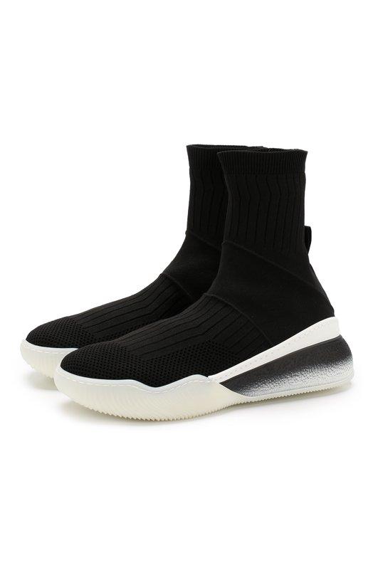Купить Высокие текстильные кроссовки Loop без шнуровки Stella McCartney, 531760/W1IW1, Италия, Черный, Полиамид: 80%; Эластан: 20%; Подошва-резина: 100%; Подкладка-текстиль: 100%;