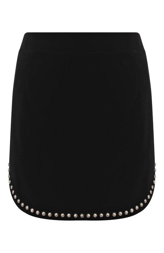 Купить Хлопковая мини-юбка с декоративной отделкой Saint Laurent, 532775/Y615W, Франция, Черный, Хлопок: 100%;