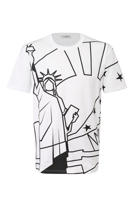 Купить Хлопковая футболка с принтом Valentino, QV3MG12C3LE, Италия, Белый, Хлопок: 100%;