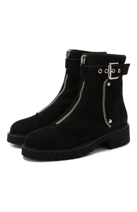 Купить Замшевые ботинки с внутренней отделкой из меха кролика Giuseppe Zanotti Design, I870060/003, Италия, Черный, Низ-мех/кролик/: 90%; Подкладка-мех/кролик/: 20%; Подкладка-мех/овчина/: 100%; Кожа: 100%; Подошва-резина: 100%; Низ-кожа: 10%;