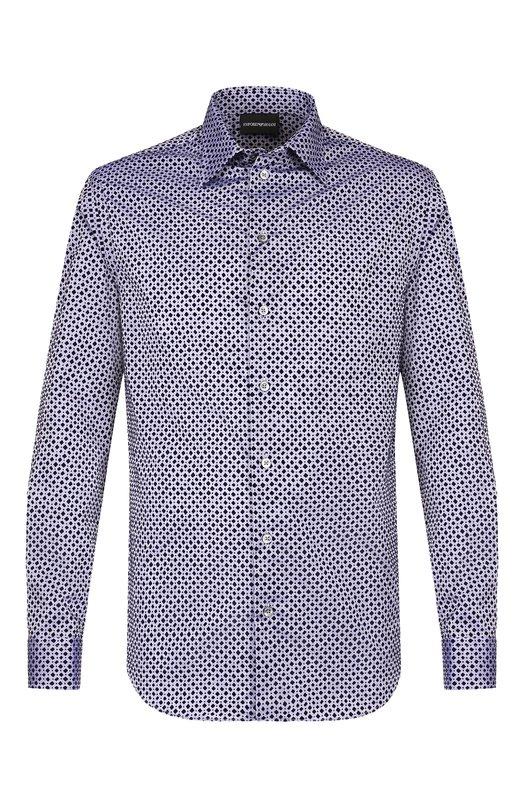 Купить Хлопковая рубашка с воротником кент Emporio Armani, 11SM0L/111F2, Тунис, Синий, Хлопок: 100%;