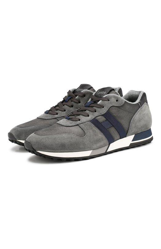 Купить Комбинированные кроссовки на шнуровке Hogan, HXM3830AN50JHL, Италия, Серый, Текстиль: 70%; Кожа: 30%; Подошва-Резина: 100%; Подкладка-Кожа: 100%; Подкладка-Текстиль: 100%;