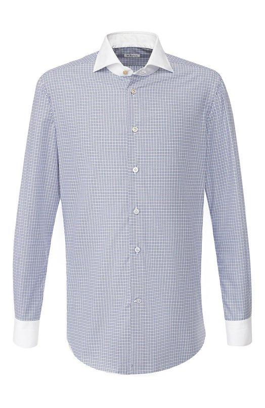Купить Хлопковая сорочка с воротником акула Kiton, UCIH0640001, Италия, Голубой, Хлопок: 100%;