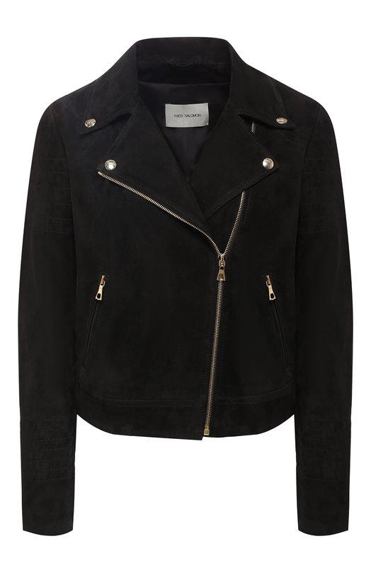 Купить Замшевая куртка Yves Salomon, YE48550AVXX, Франция, Черный, Подкладка-шелк: 100%; Замша натуральная: 100%;