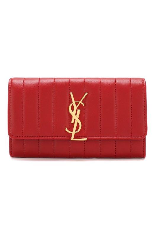 Купить Кожаный кошелек Vicky с клапаном Saint Laurent, 539972/0YD01, Италия, Красный, Кожа натуральная: 100%;