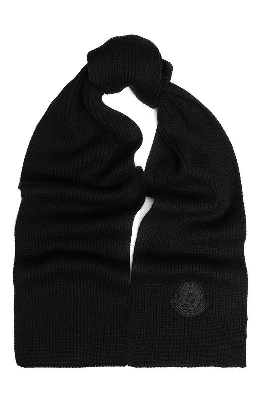 Купить Шерстяной шарф фактурной вязки Moncler, D2-091-99010-00-969AZ, Италия, Черный, Шерсть: 100%;