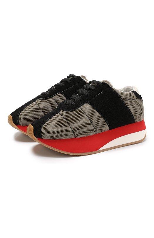 Текстильные кроссовки Big Foot с замшевой отделкой Marni
