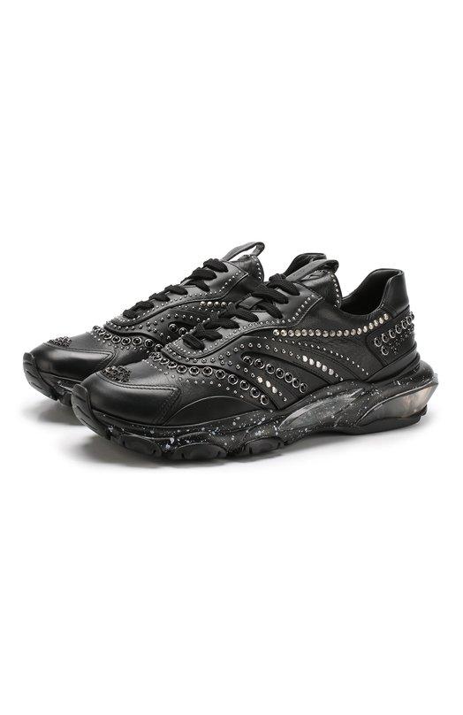 Купить Кожаные кроссовки Valentino Garavani на шнуровке с декоративной отделкой Valentino, QY2S0B05/UWV, Италия, Черный, Подкладка-Кожа: 100%; Подошва-полимер: 100%; Кожа: 100%;