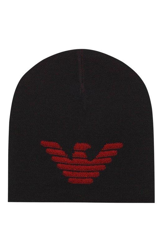Купить Шерстяная шапка с логотипом бренда Emporio Armani, 6Z1402/1MTTZ, Китай, Темно-синий, Шерсть: 51%; Акрил: 49%;
