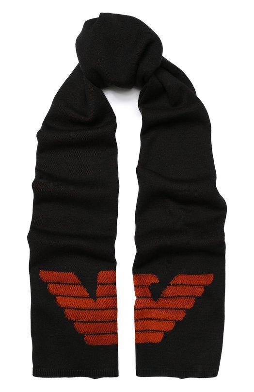 Шерстяной шарф с логотипом бренда Emporio Armani, 6Z1403/1MTTZ, Китай, Серый, Шерсть: 51%; Акрил: 49%;  - купить
