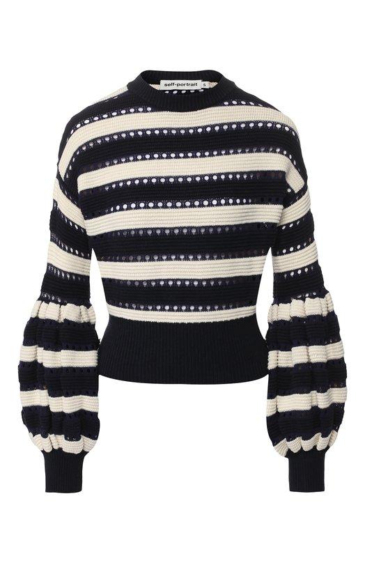 Вязаный пуловер из смеси хлопка и шерсти self-portrait