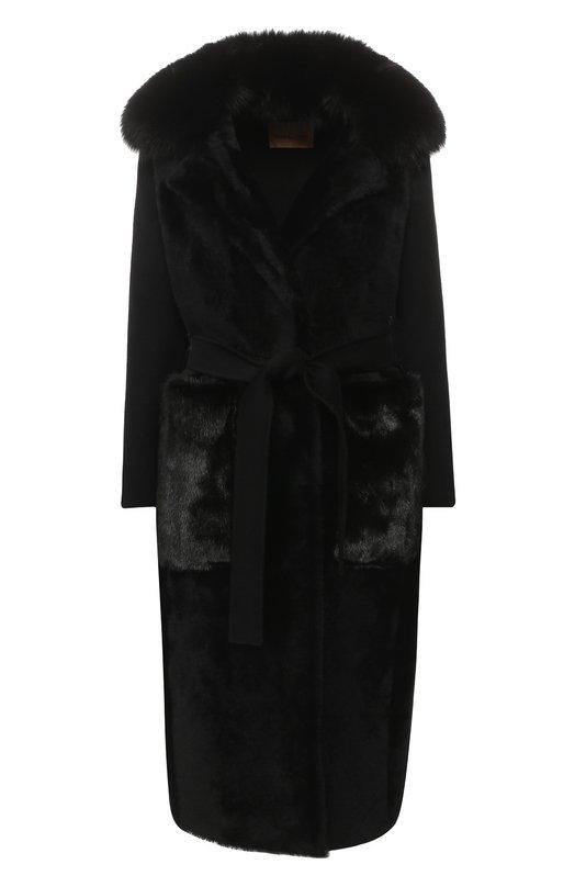 Купить Пальто из смеси шерсти и кашемира с меховой отделкой Yves Salomon, 9WYM04620CDPL, Франция, Черный, Шерсть: 60%; Кашемир: 40%; Отделка мех./норка/: 100%; Мех/овчина/: 100%; Воротник/мех натуральный/: 100%; Подкладка-шелк: 100%;