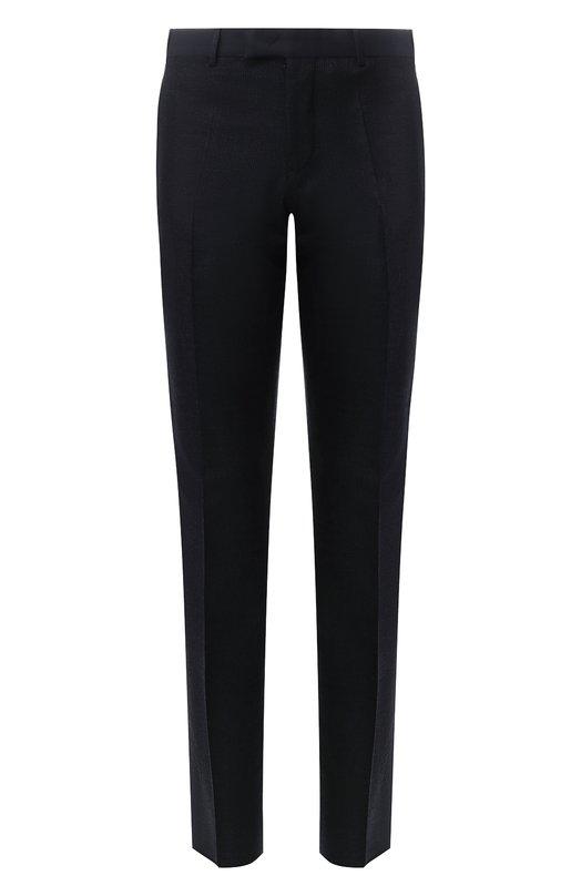 Купить Шерстяные брюки прямого кроя Emporio Armani, 11P0N0/11690, Болгария, Темно-синий, Шерсть: 99%; Эластан: 1%;