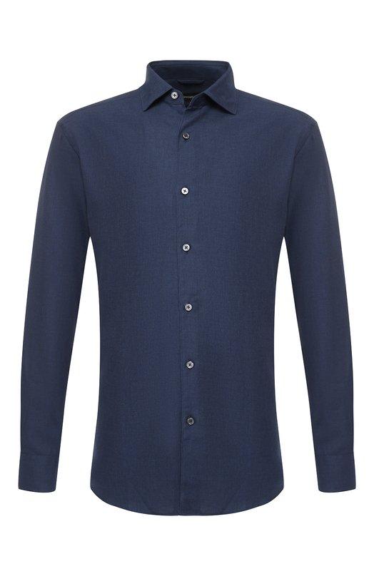 Купить Рубашка из смеси хлопка и кашемира с воротником кент Ermenegildo Zegna, URX40/SRF5, Румыния, Синий, Хлопок: 85%; Кашемир: 15%;